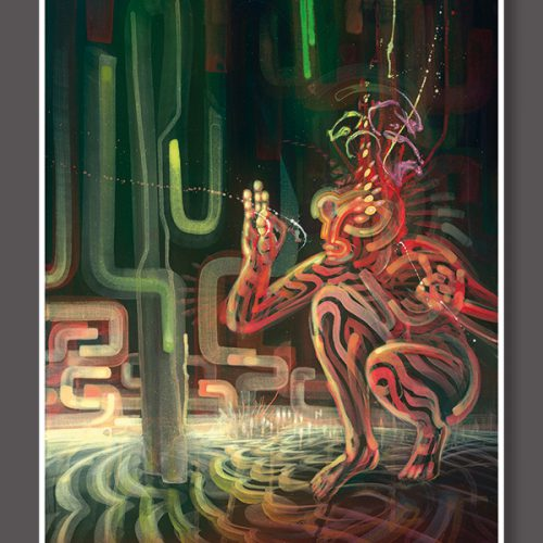 Soul Medicine Box Psychedelic art print visionary art style of german painter Dennis Konstantin Bax. Abstract DMT Vision Ayahuasca.