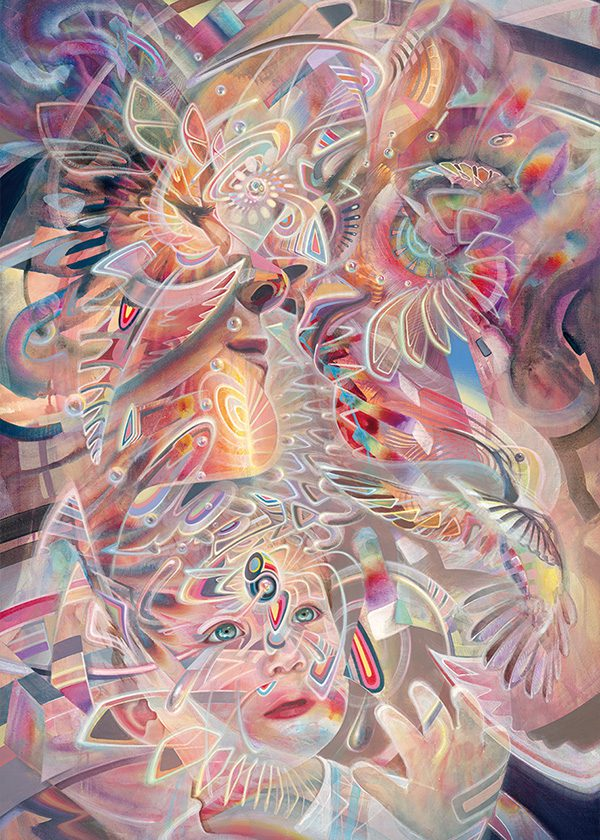 Visionary art print ayahuasca trippy psychedelische kunst kunstdruck family fractals