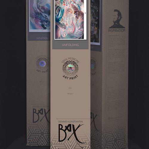 "Soul Medicine Box with fine art print ""Infinitus""Psychedelic art print visionary art style of german painter Dennis Konstantin Bax. Abstrakte Malerei aus Hamburg."