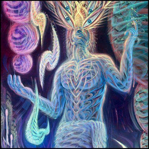 Visionary art print detail of a man on dmt