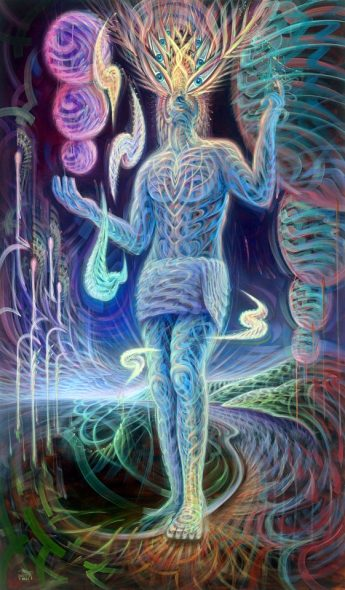 psychedelic art with an enlightened man walking on earth dmt psychedelic experience