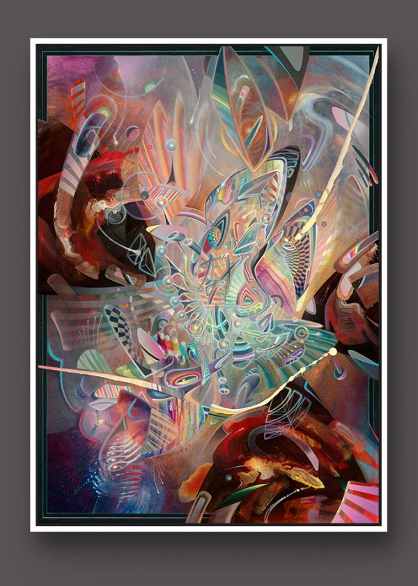 Abstract Fine art canvas print limited edition by dennis konstantin bax psychedelic art Dream Generator at work