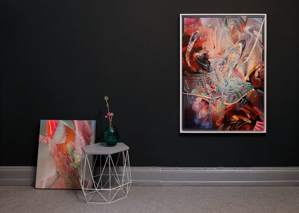 Abstract Fine art canvas print limited edition by dennis konstantin bax psychedelic art with furniture