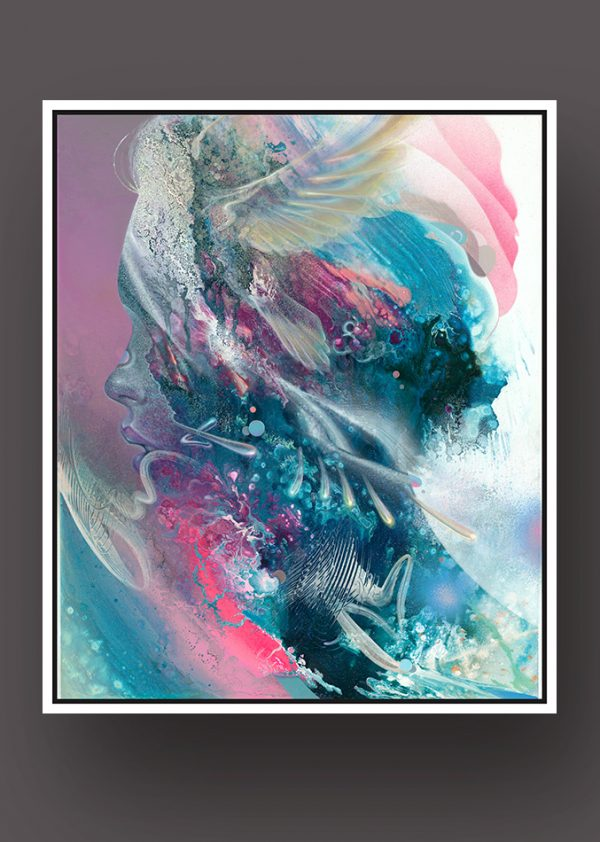 Limited Edition Fine Art Print canvasprint Dennis Konstantin Bax Psychedelic visionary art surrealism kunstdruck psychedelisch surrealismus Abstract Portrait of a woman with bird