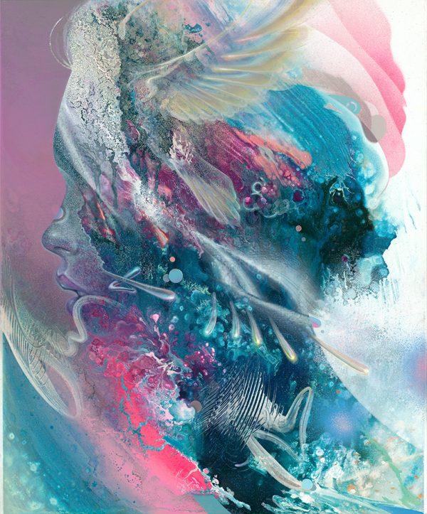 Visionary art psychedelic art ayahuasca dmt psychedelische kunst Art Print Dennis Konstantin Bax deutscher Maler Abstract Portrait