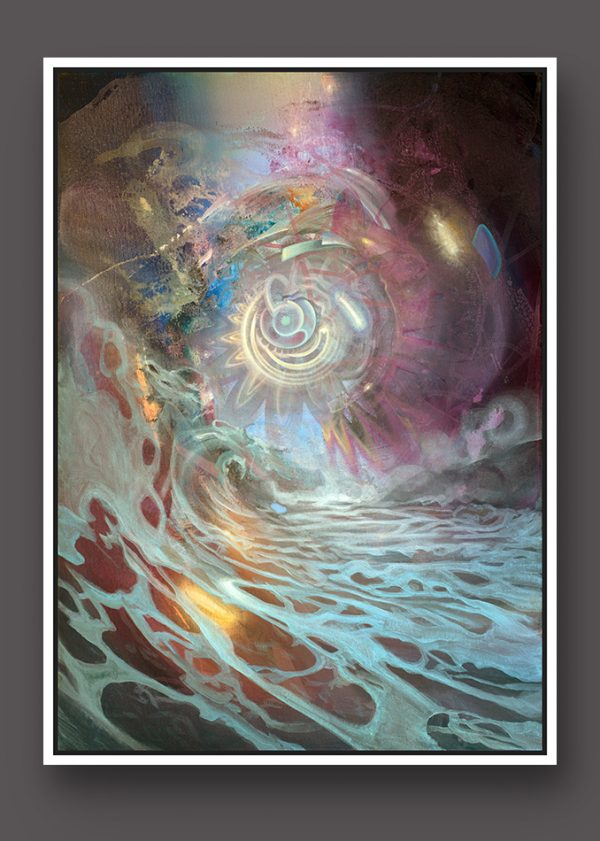 Limited Edition Fine Art Print Dennis Konstantin Bax Psychedelic visionary art surrealism kunstdruck psychedelisch surrealismus Wave Volcano in flames