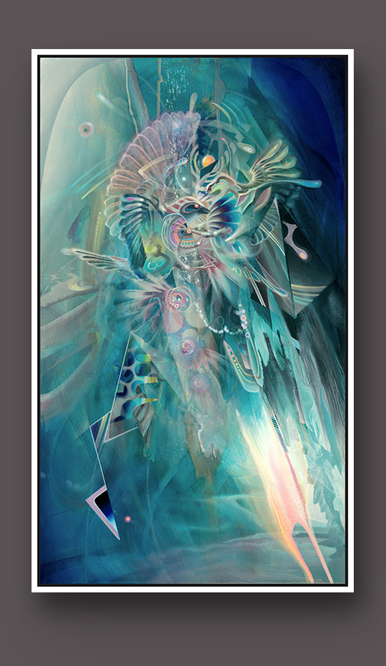 Visionary psychedelic art print ayahuasca psychedelische kunst kunstdruck Dennis Konstantin Bax Two Birds fighting with each other