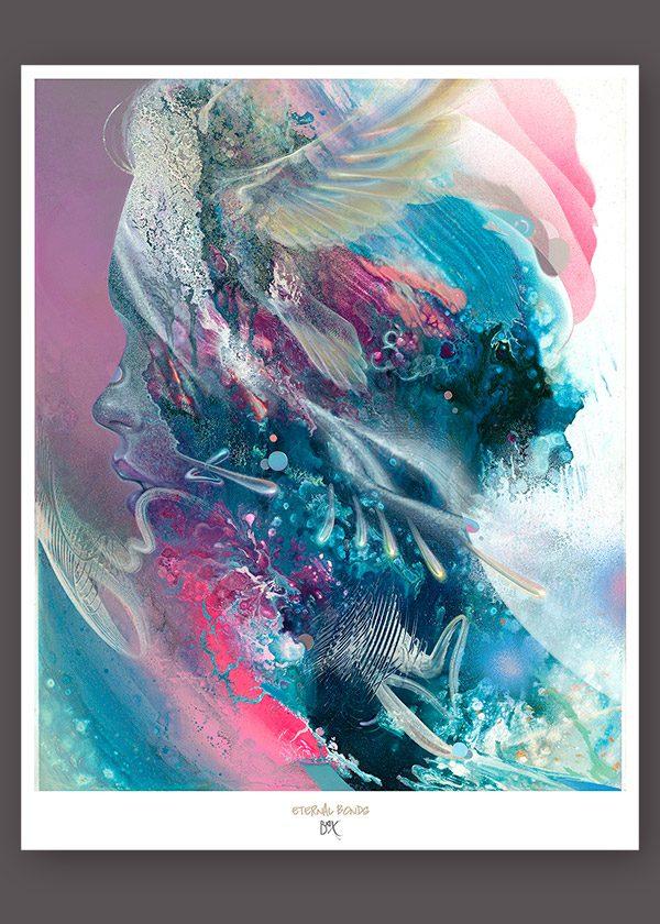 Abstract Portrait with Bird. Soul Medicine Psychedelic Visionary art print dennis konstantin bax poster kunstdruck ayahuasca psychedelische kunst hamburg