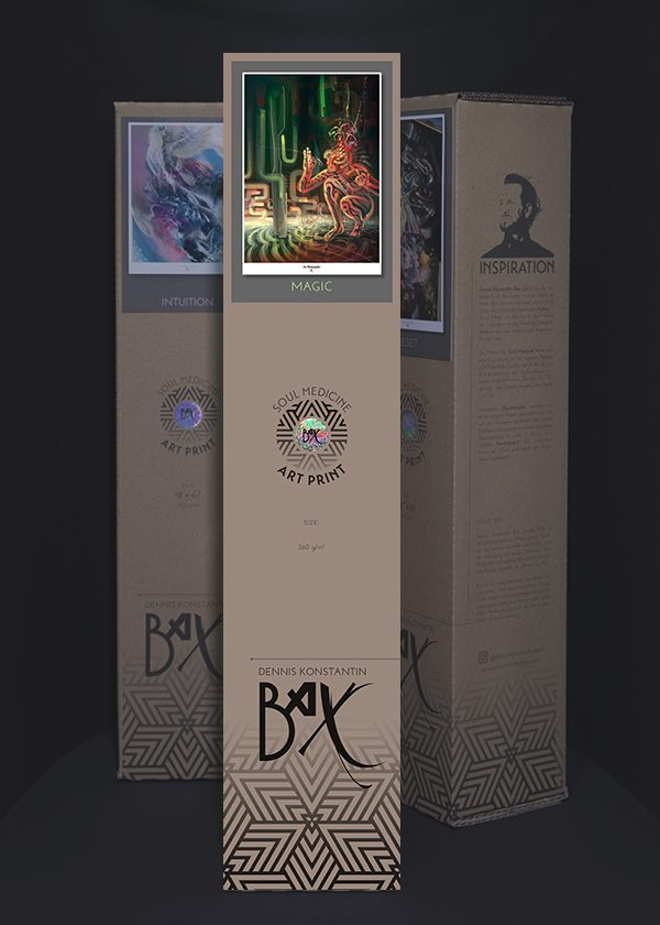 Soul Medicine Box Ayahuasca psychedelic art print poster.
