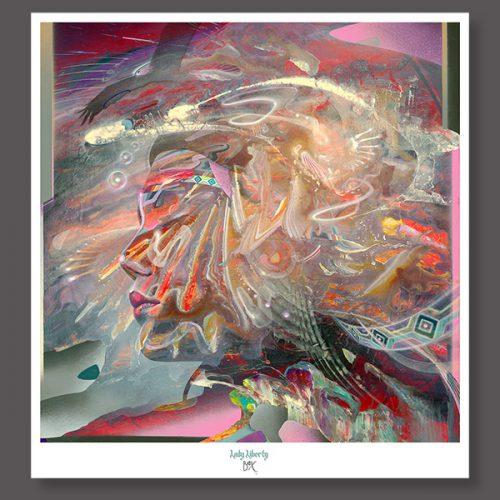 Lady Liberty Soul medicine Psychedelic art print signed by dennis konstantin bax. poster original fine art kunstdruck.
