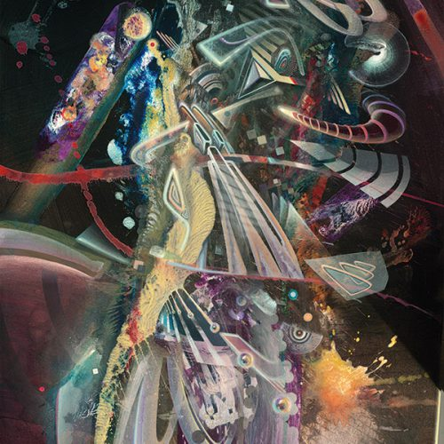 Visionary abstract psychedelic art print explosion ayahuasca psychedelische kunst kunstdruck