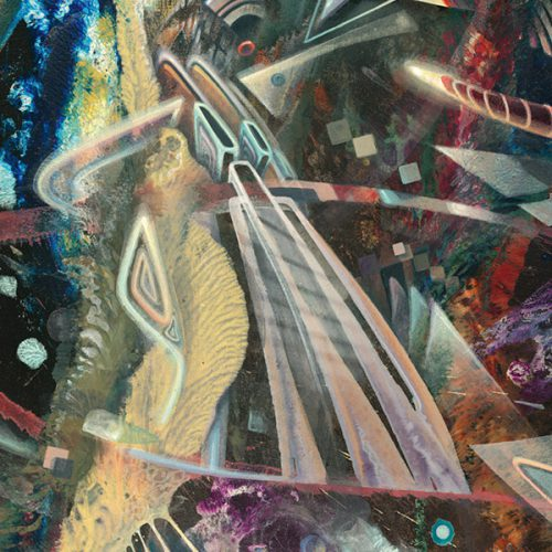 "Detail of abstract Psychedelic art print ""Destruction Overdrive"" visionary art style of german painter Dennis Konstantin Bax."