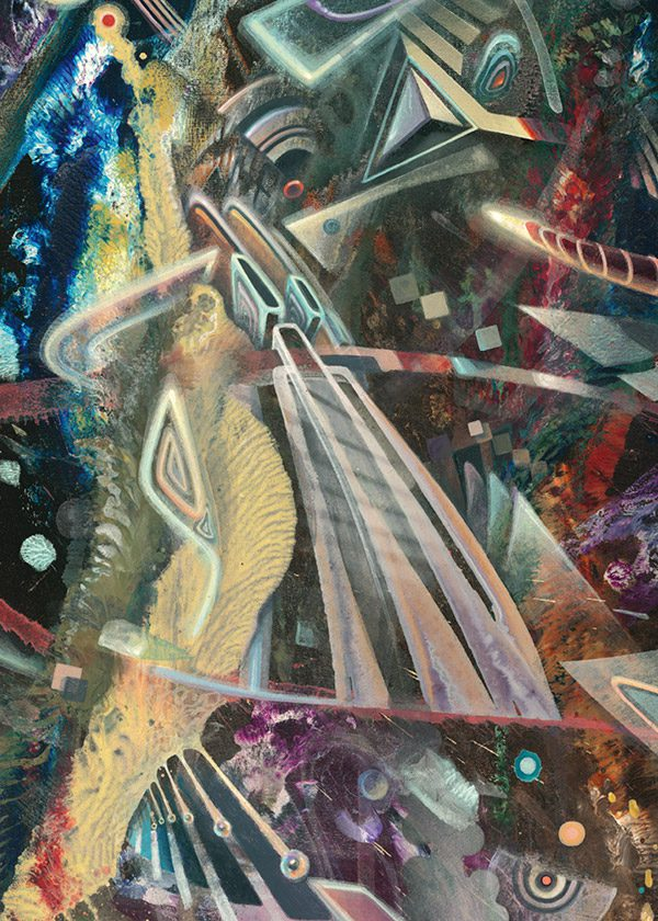 """Detail of abstract Psychedelic art print """"Destruction Overdrive"""" visionary art style of german painter Dennis Konstantin Bax."""