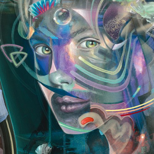 Detail of a Woman with a bird. Rainbow colors.Visionary psychedelic art print Kunstdruck