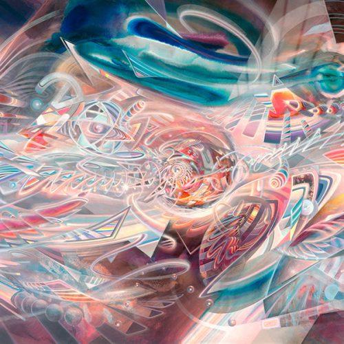 Abstract psychedelic art print Kunstdruck von Dennis Konstantin Bax.