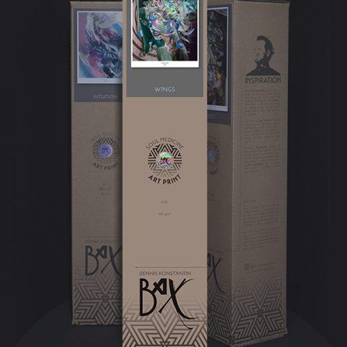 "Soul Medicine Box ""She's like the Wind"" Woman with Bird Psychedelic art print visionary art style of german painter Dennis Konstantin Bax. Ayahuasca Abstrakte Malerei Frau mit Vogel Kunstdruck."