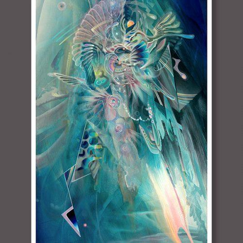 Psychedelic Visionary art print Fighting Birds dennis konstantin bax poster kunstdruck ayahuasca psychedelische kunst hamburg