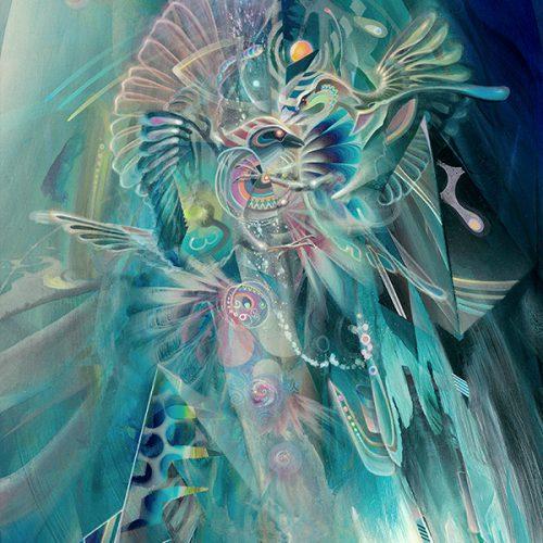 Birds fighting Visionary psychedelic art print ayahuasca psychedelische kunst kunstdruck Dennis Konstantin Bax