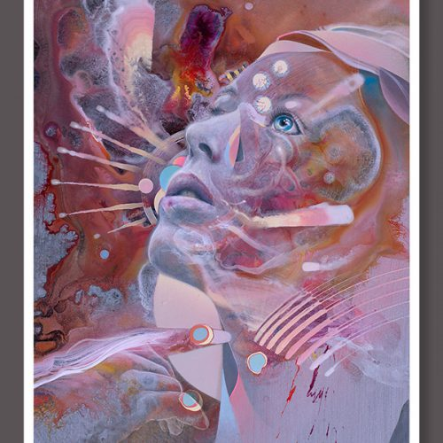 Woman talking to God Visionary art print by dennis konstantin bax poster kunstdruck ayahuasca psychedelische kunst hamburg