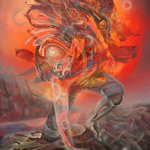 Detail of Visionary psychedelic art print ayahuasca Man touching the earth. Grounding to the Universe by Dennis Konstantin Bax