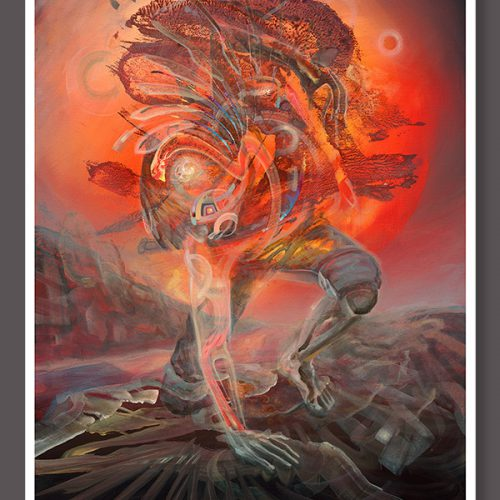 Soul Medicine Box visionary art print by german painter Dennis Konstantin Bax. Abstract Ayahuasca Vision.