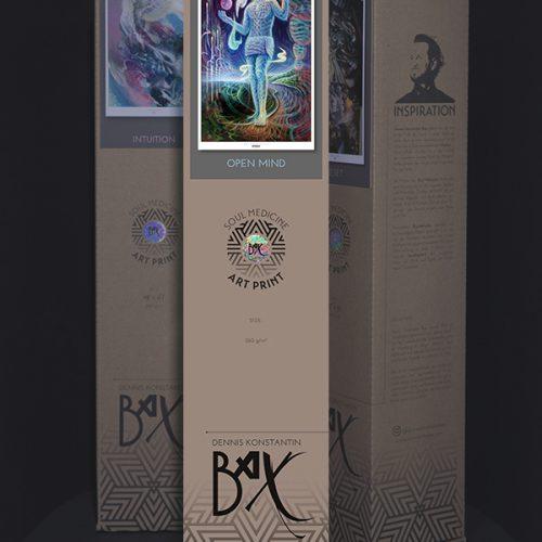 Soul Medicine Box visionary art print of german painter Dennis Konstantin Bax. Abstract DMT Ayahuasca Trippy art.