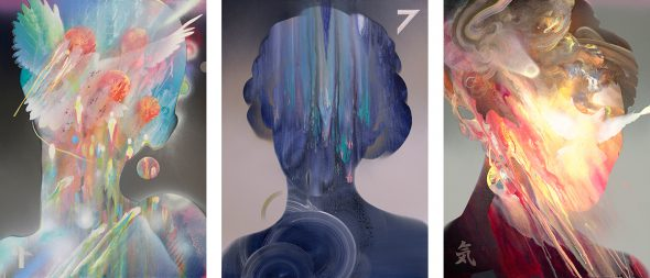Abstract portraits tryptich by Dennis Konstantin Bax. Psychedelic and visionary trippy art.