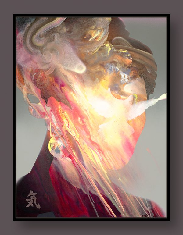 Fine art canvas print limited edition showing a woman filled with energy