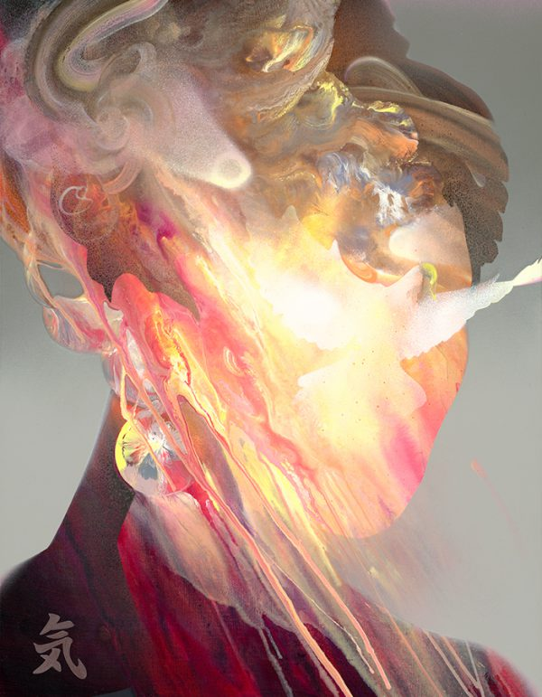 Fine art canvas print limited edition showing a woman filled with energy and fire flames within