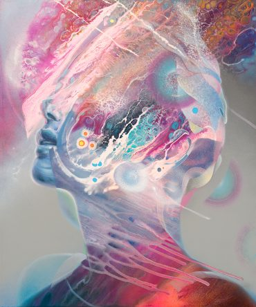 Abstract portrait of an ocean lady beautiful woman. Psychedelic art painting by Dennis Konstantin Bax. Abstract visionary art.